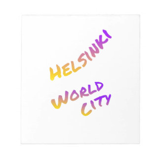 Helsinki world city, colorful text art notepad