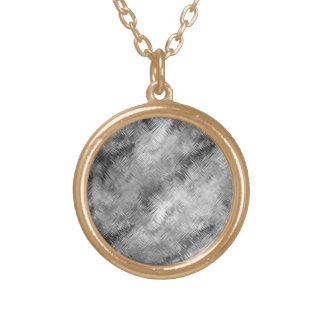 Hematite Grey Scribbled Texture Gold Plated Necklace