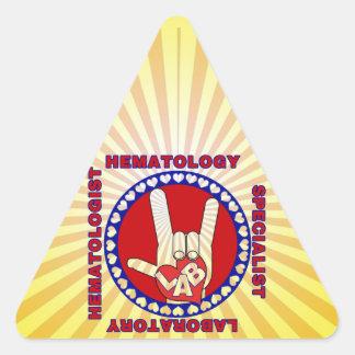 HEMATOLOGIST HEMATOLOGY LAB SPECIALIST SQUARE LOGO TRIANGLE STICKER