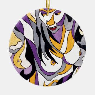 Hembra abstracta 7 adorno navideño redondo de cerámica
