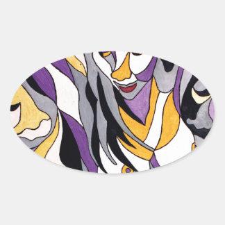 Hembra abstracta 7 pegatina ovalada