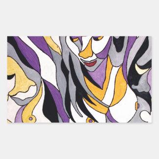 Hembra abstracta 7 pegatina rectangular