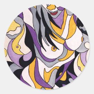 Hembra abstracta 7 pegatina redonda