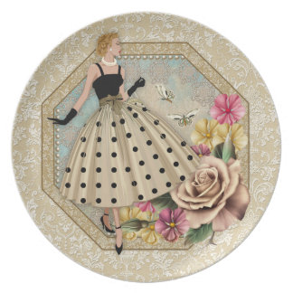 Hembra atractiva de la moda de los años 50, placa plato de cena