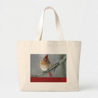 Hembra cardinal septentrional bolsa tela grande