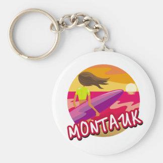 Hembra de la persona que practica surf de Montauk Llaveros