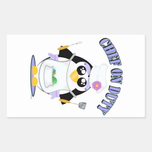 Hembra de servicio del pingüino del cocinero rectangular pegatina