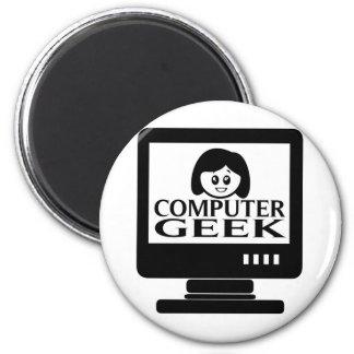 Hembra del chica del friki del ordenador imán para frigorífico