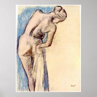 Hembra después del baño de Edgar Degas Póster