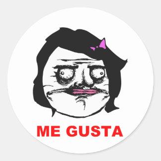 Hembra negra yo cara cómica Meme de la rabia de Pegatina Redonda
