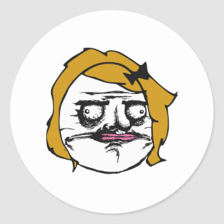Hembra rubia yo cara cómica Meme de la rabia de Pegatina Redonda