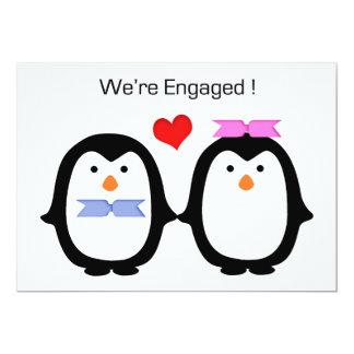 """Hembra-varón de los pares del pingüino dedicada invitación 5"""" x 7"""""""