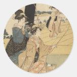 Hembras japonesas que practican el tiro al arco C. Pegatina Redonda