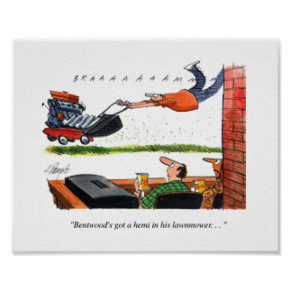 Hemi Mower Cartoon Poster