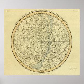 Hemisferio celestial del norte póster