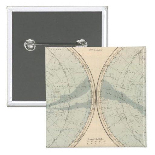 Hemisferio de Celeste del planisferio Pins