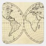 Hemisferio del doble del esquema del mundo pegatina cuadrada