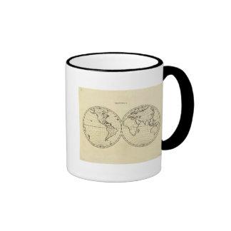 Hemisferio del doble del esquema del mundo taza de café