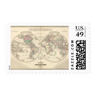 Hemisferio del este del hemisferio occidental sello postal