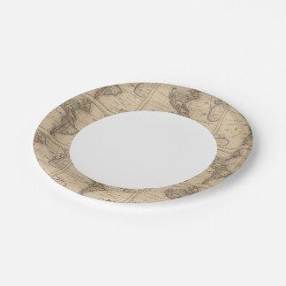 Hemisferio occidental 12 plato de papel de 7 pulgadas