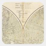 Hemisphere Atlas Map Square Sticker