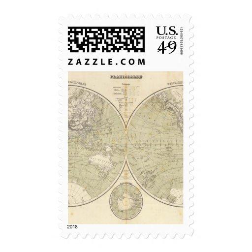 Hemisphere Atlas Map Stamps