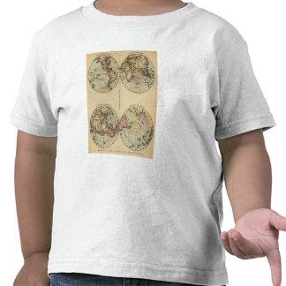 Hemispheres Hand Colored Atlas Map T-shirts