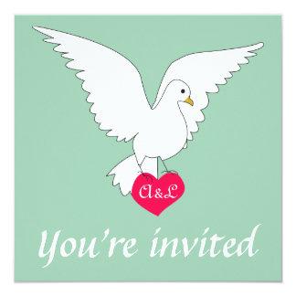 """Hemlock Green Dove Wedding Invitation 5.25"""" Square Invitation Card"""