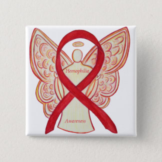 Hemophilia Angel Red Awareness Ribbon Button