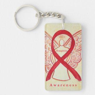 Hemophilia Angel Red Awareness Ribbon Keychain
