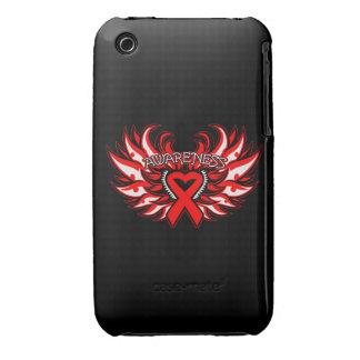 Hemophilia Awareness Heart Wings iPhone 3 Case-Mate Cases