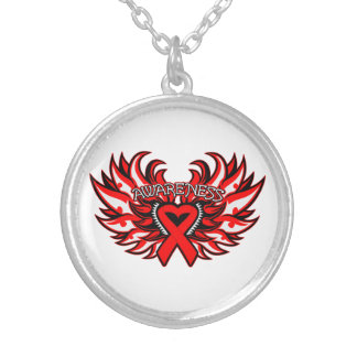 Hemophilia Awareness Heart Wings Round Pendant Necklace