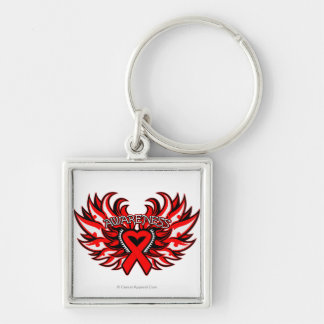 Hemophilia Awareness Heart Wings Silver-Colored Square Keychain