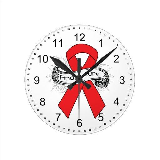 Hemophilia Find A Cure Ribbon Wallclock