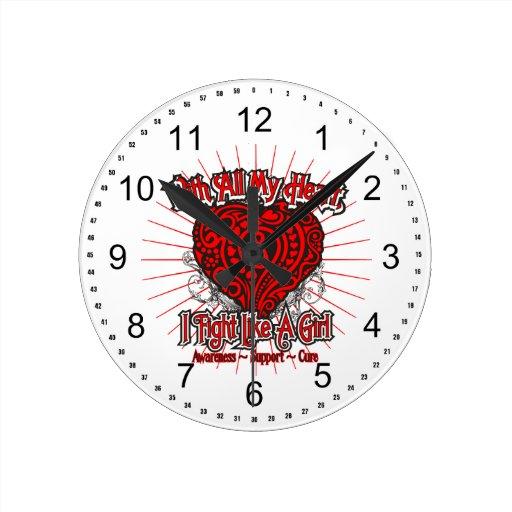 Hemophilia Heart I Fight Like A Girl Round Wall Clocks