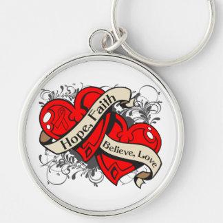 Hemophilia Hope Faith Dual Hearts Silver-Colored Round Keychain