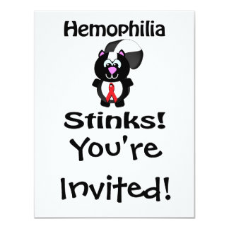 Hemophilia Stinks Skunk Awareness Design 4.25x5.5 Paper Invitation Card