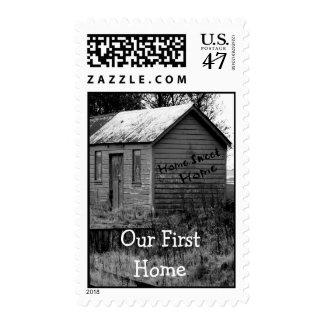 Hemos movido estreno de una casa de la cabaña del timbres postales