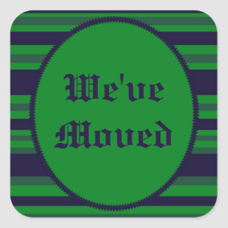 Hemos movido rayas azulverdes pegatina cuadrada