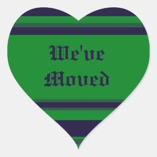 Hemos movido rayas azulverdes pegatina en forma de corazón