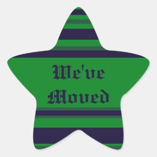 Hemos movido rayas azulverdes pegatina en forma de estrella