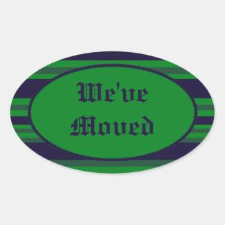 Hemos movido rayas azulverdes pegatina ovalada