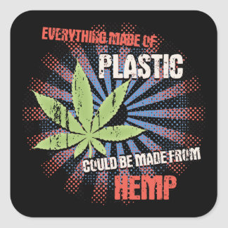 Hemp Plastic Square Sticker