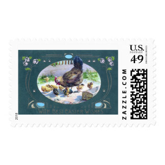 Hen and Art Nouveau Easter Lilies Postage Stamp