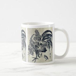 Hen and chick by Utagawa, Toyohiro Ukiyoe Classic White Coffee Mug