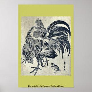 Hen and chick by Utagawa, Toyohiro Ukiyoe Poster