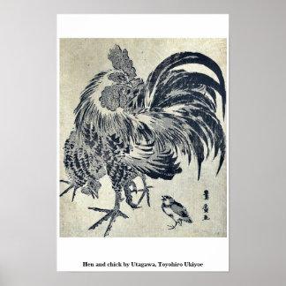 Hen and chick by Utagawa, Toyohiro Ukiyoe Print