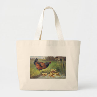 hen and chicks large tote bag