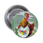 Hen and Eggs Easter Button