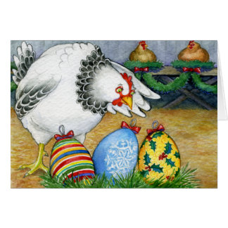 Hen and her Christmas Eggs Greeting Card